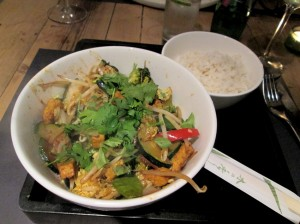 Wok with tofu and vegetables and coriander