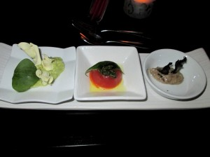 avocado with parsnip and purslane, flan tomatoe with green pesto and mushroom creme