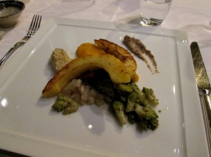 buton squash with forest mushrooms, quinoa, butternut mash, romanesco with mushroom sauce