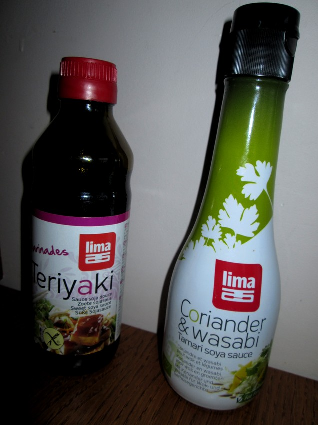 teriyaki (sweet soy sauce), coriander and wasabi tamari