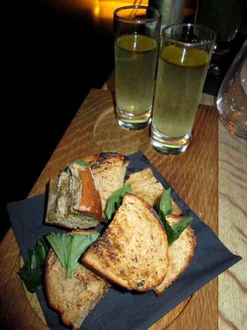 roasted bread, basil and tomato juice
