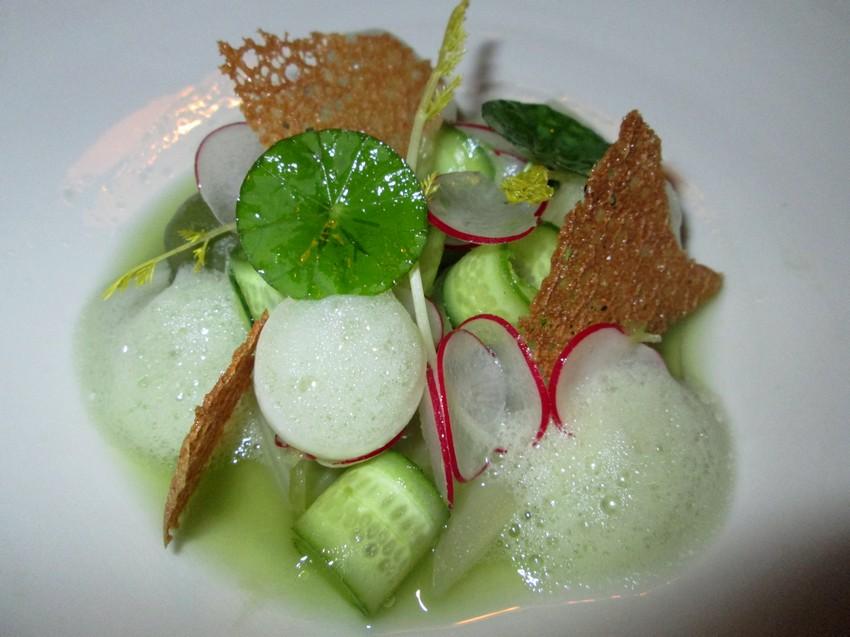 celery, radish, cucumber juice, Bruges cookie