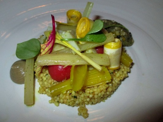 couscous with cardoon, mash of artichoke, courgette, celery, tomato