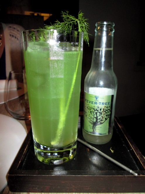 alcoholfree ginger beer with cucumber juice and fennel