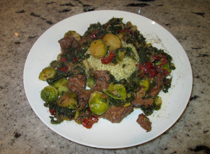 braised seitan, kale, brussels sprouts and sundried tomatoes