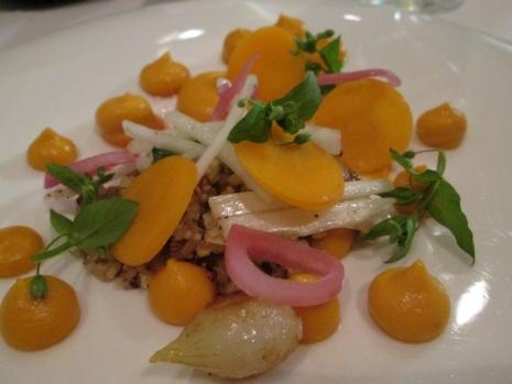 pumpkin mousse, silver onion, quinoa, endives, carrots, chickwort, miso sauce