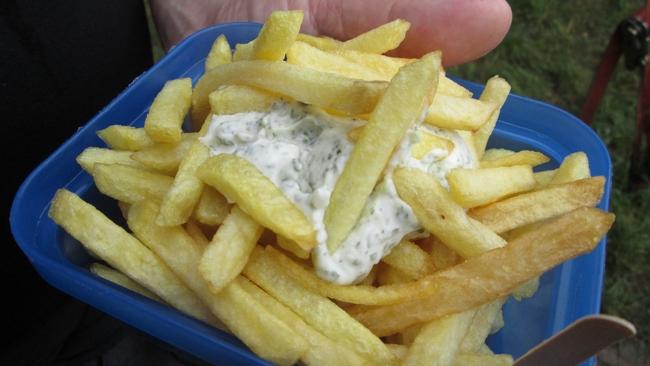 Fries with tartare 3€ (+1€ plate) De Frietketel