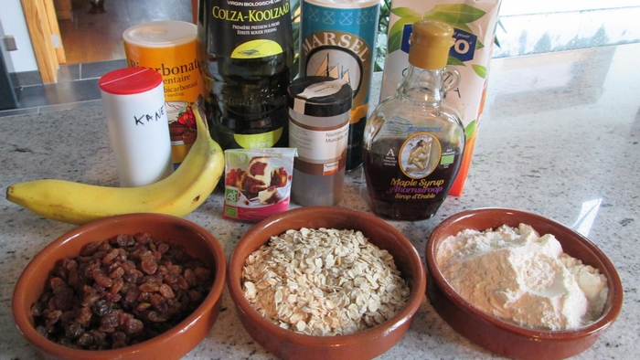 Ingredients oat raisin banana waffles