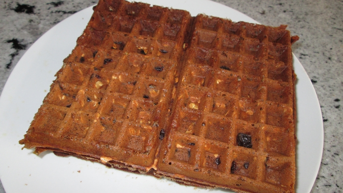 Oat banana raisin waffles