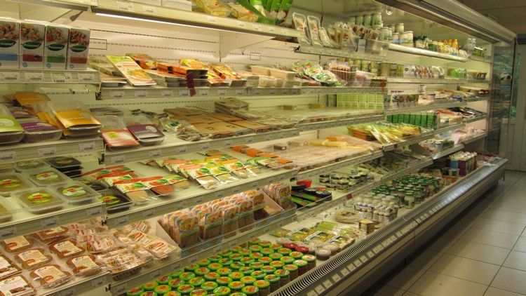 Fridge with many vegan products, Biovita, Sint Kruis, Bruges