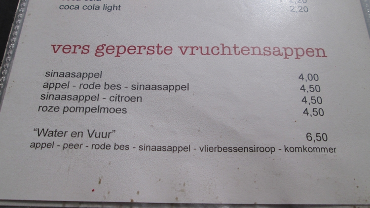 Menu Fresh Juices, Water en Vuur Diksmuide