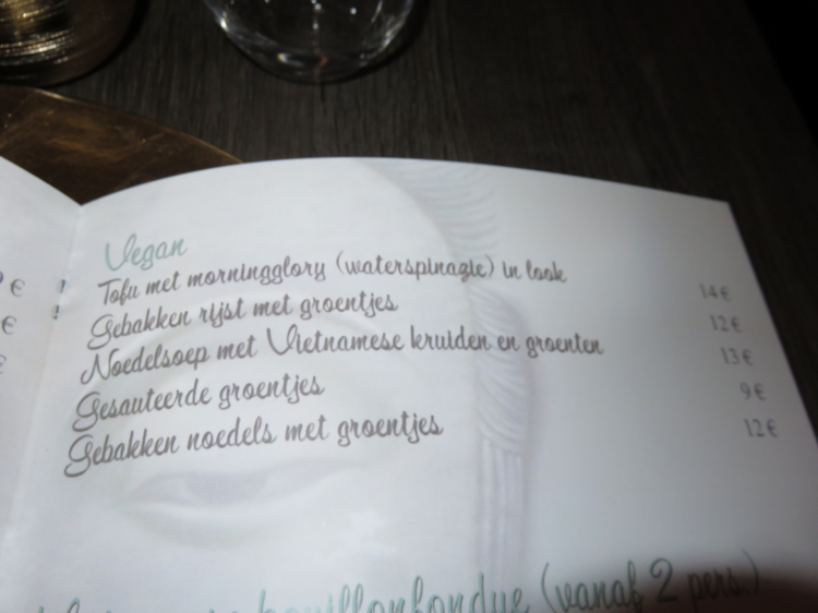 vegan items on menu card