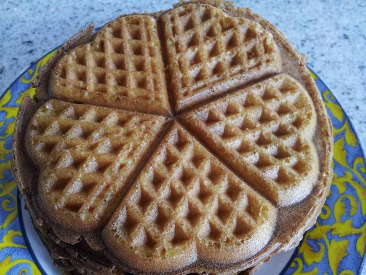 Corn lemon heart waffles