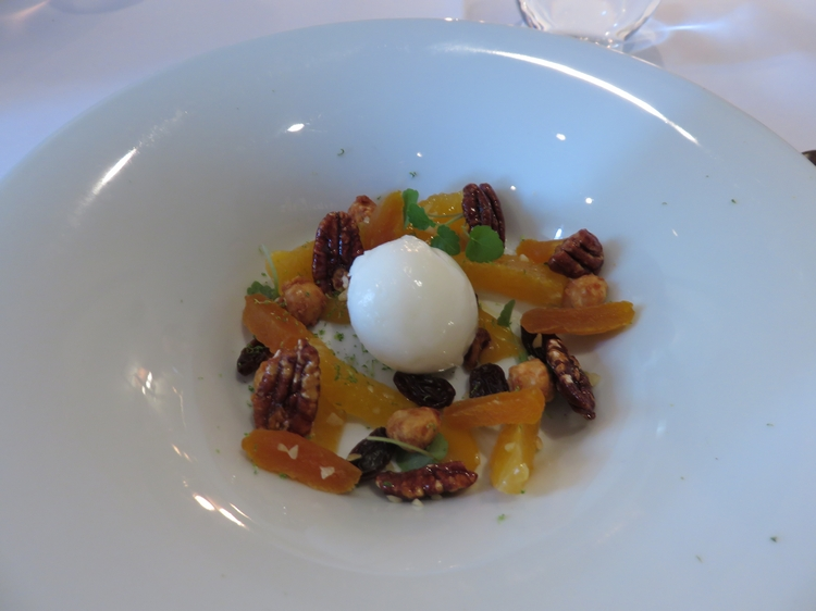 lemon sorbet with mandarines, nuts, raisins and apricots