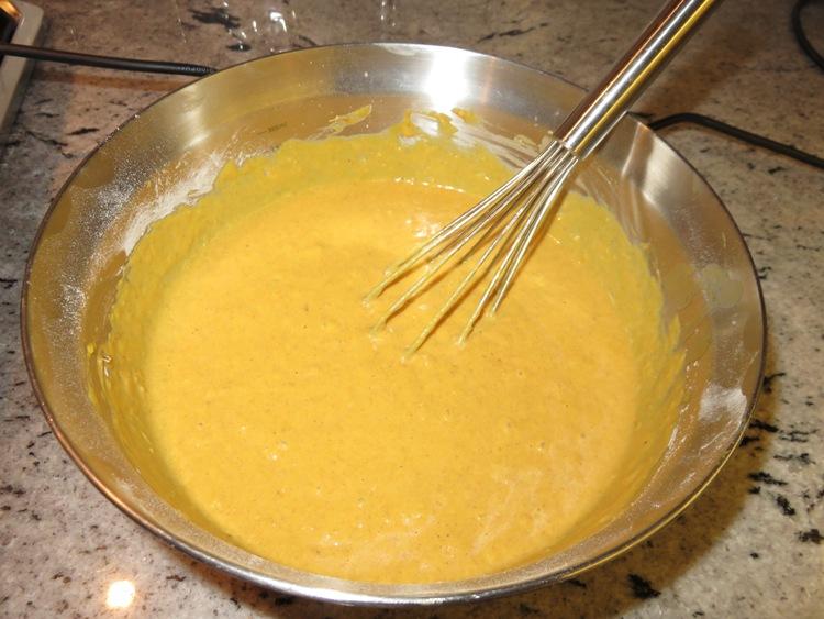 batter pumpkin waffles