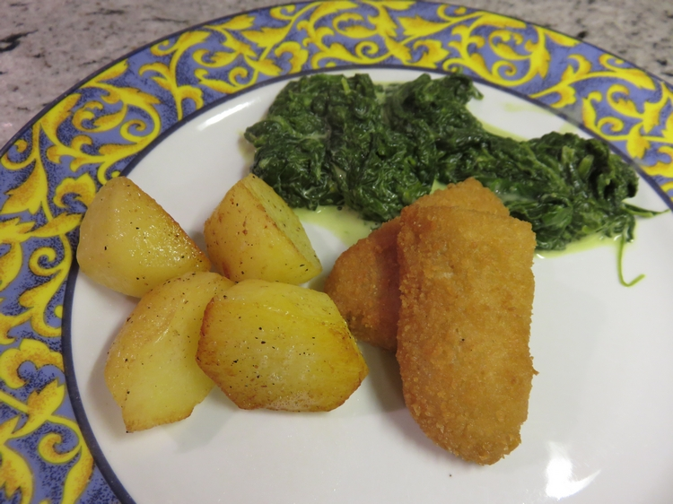 vegan cheese croquette (with fried potato and spinach)