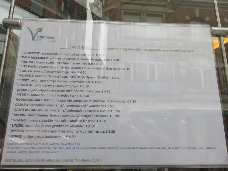 Menu @vegaverso Leuven