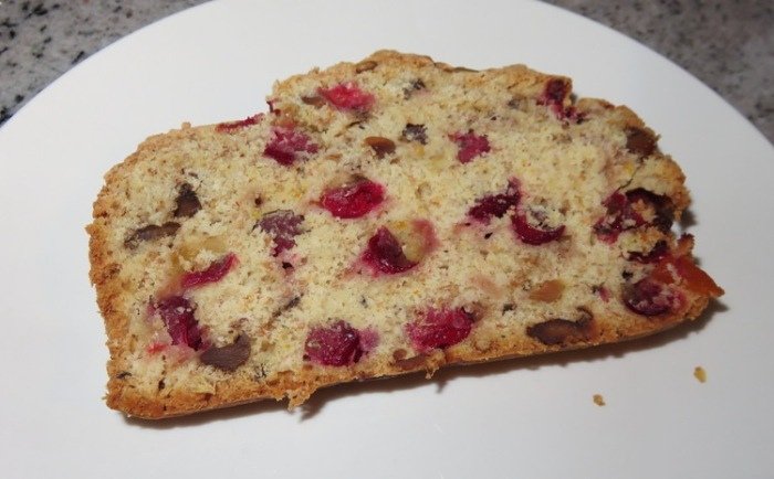 Cranberry bread slice