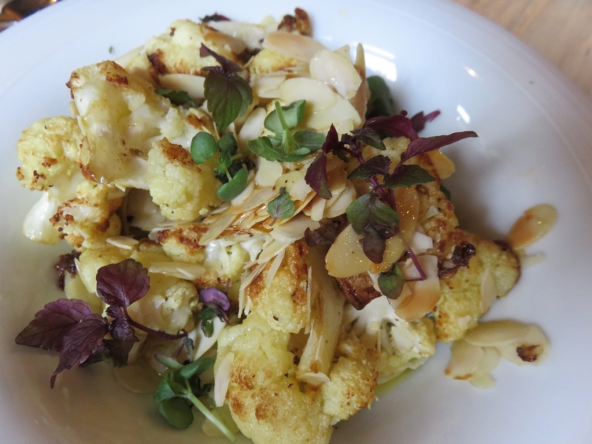 grilled sweet cauliflower with almonds and cumin