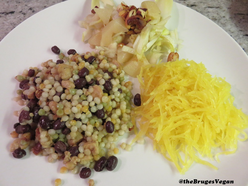 tempeh and pearl couscous with azuki beans, chicory salad and spaghetti squash