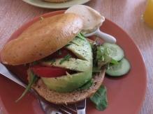 Avocado bagel, with hummus