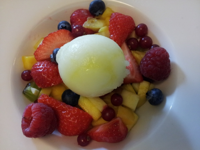 lemon sorbet and fresh fruit