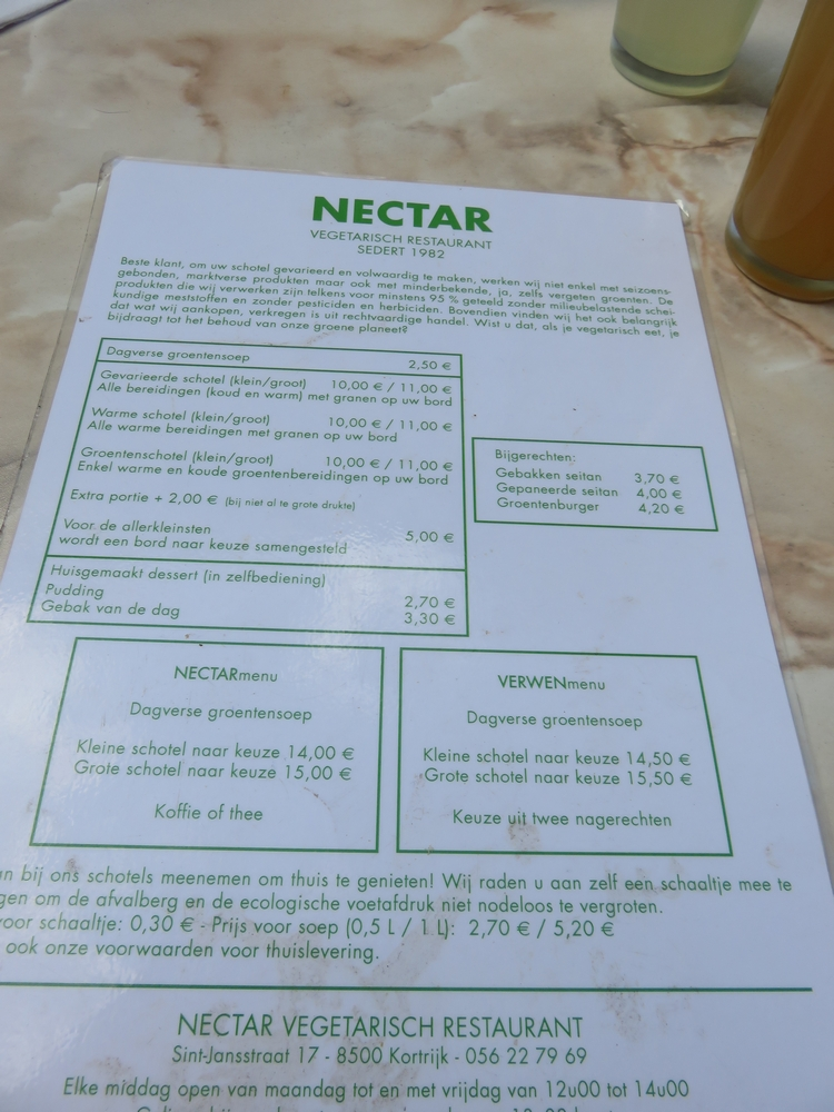 Menu at vegetarian restauant Nectar