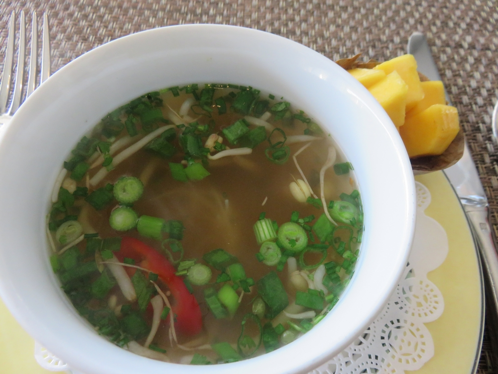 soup with mango on the side