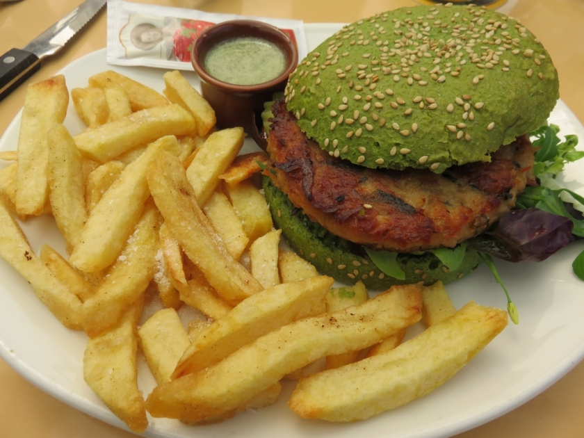 The dutch weed burger with fries, at Paal 9, Texel