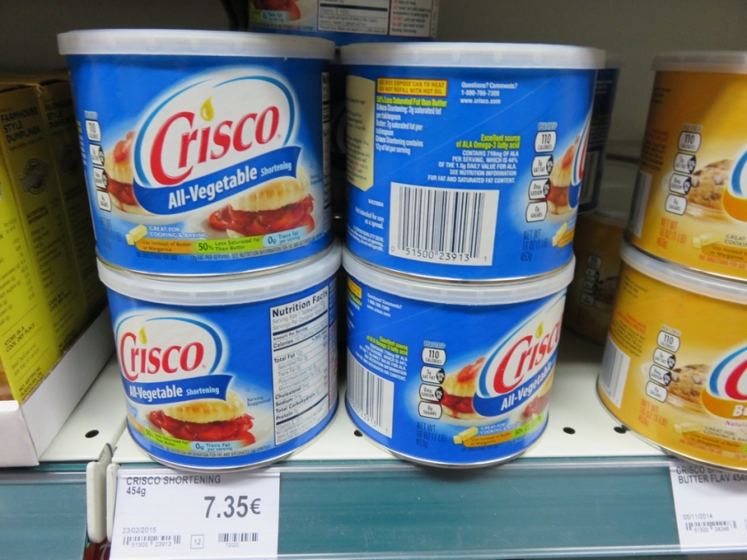 Crisco all vegetable shortening (haven't seen that in a lot of Belgian shops)