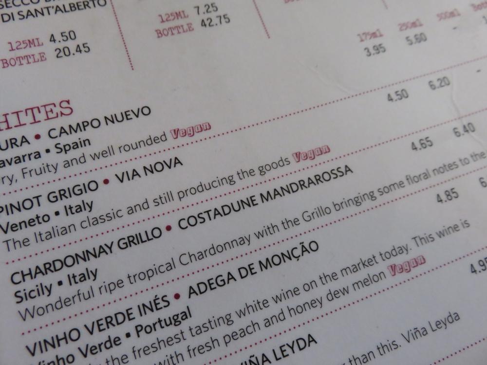 wine list, indicating vegan wines!