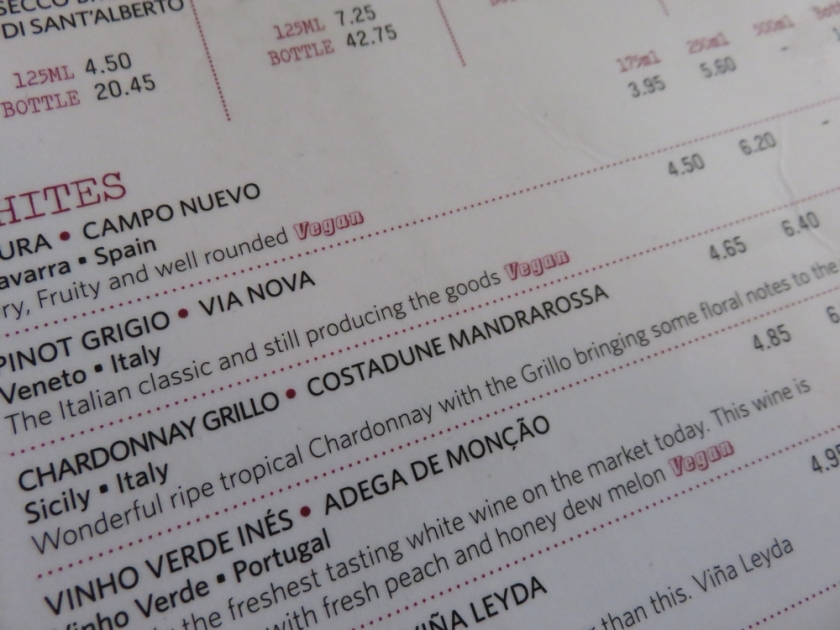 wine list, indicating vegan wines!