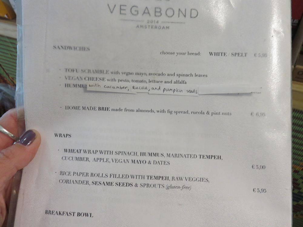 menu at Vegabond
