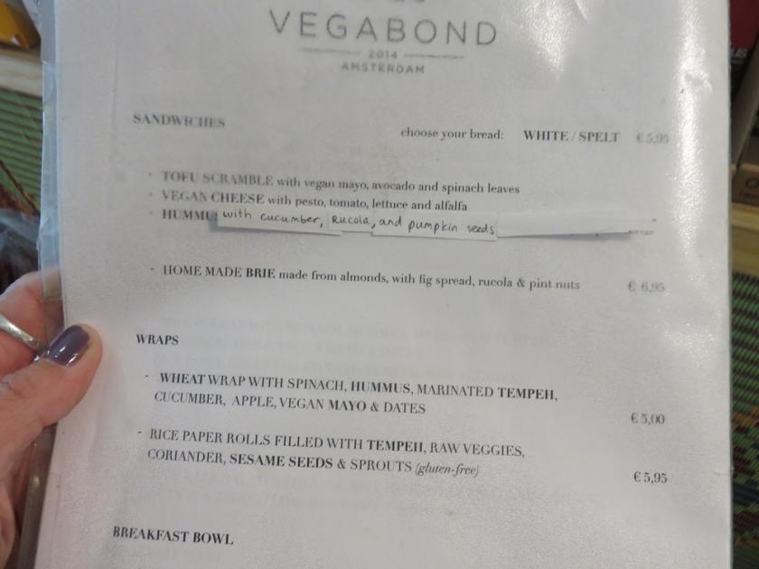 menu at Vegabond