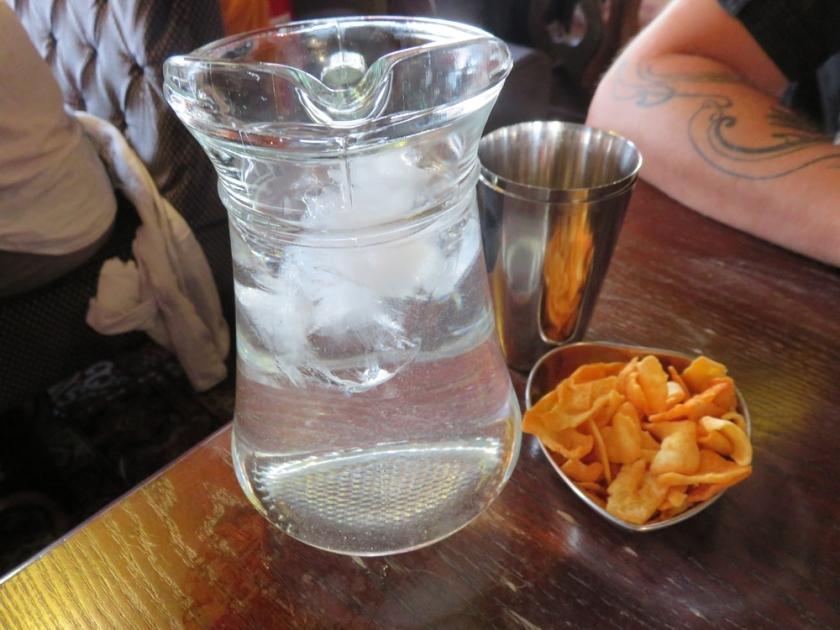 ice tap water and vegan snacks