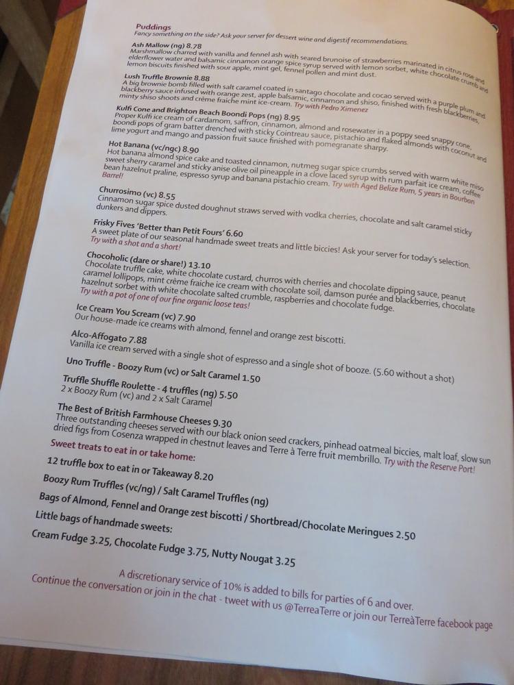Desserts menu at terre a terre, Brighton, UK