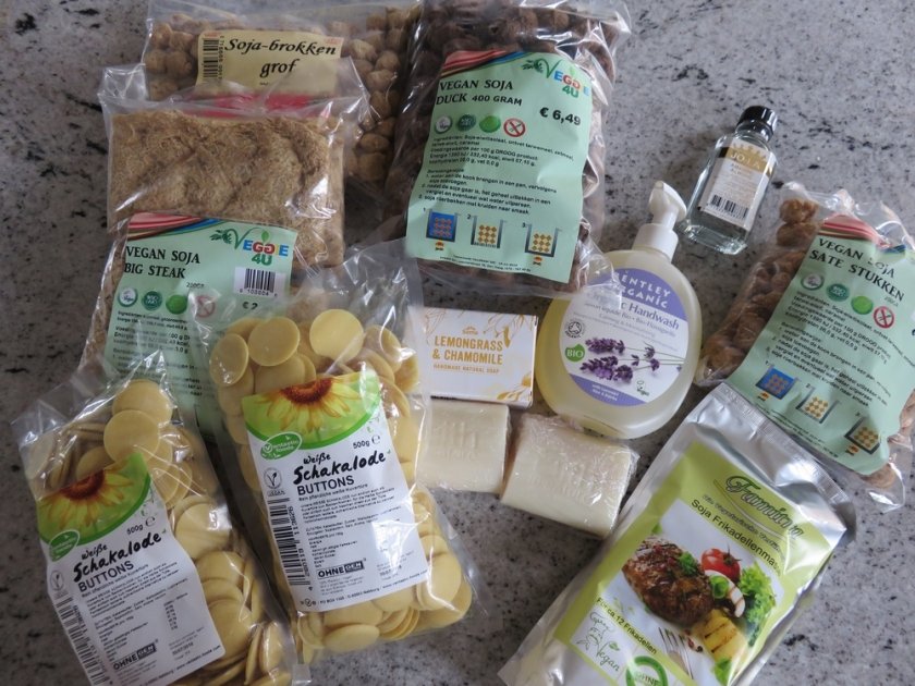 items we bought at veggie4U in The Hague, The Netherlands
