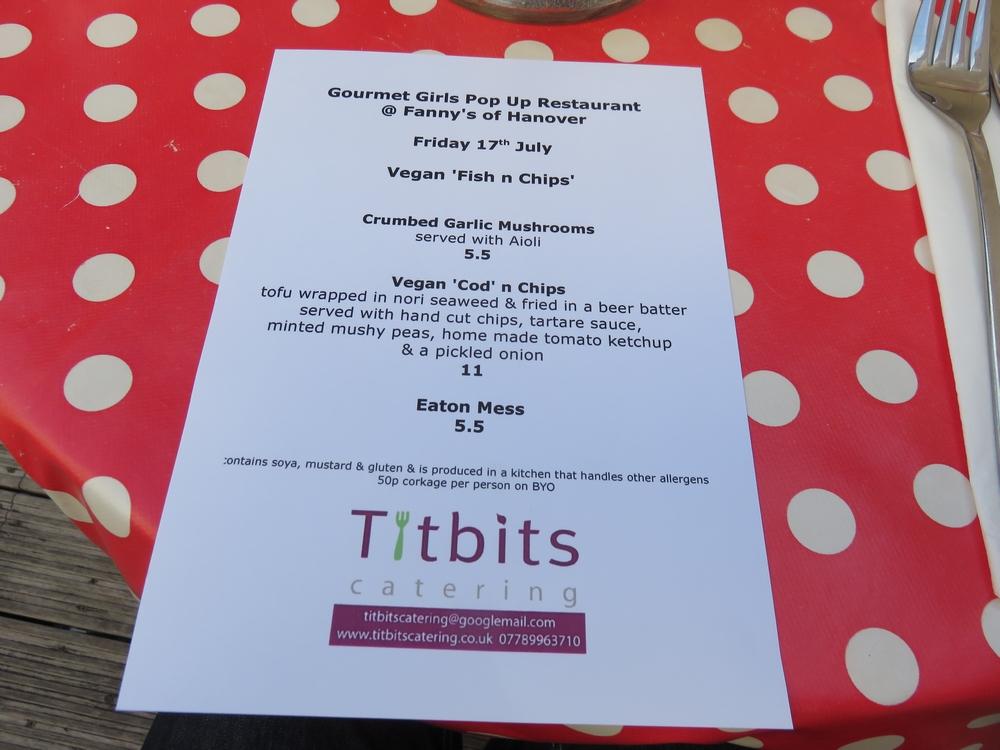 Menu, Gourmet Girls pop up restaurant, July 2015, Brighton