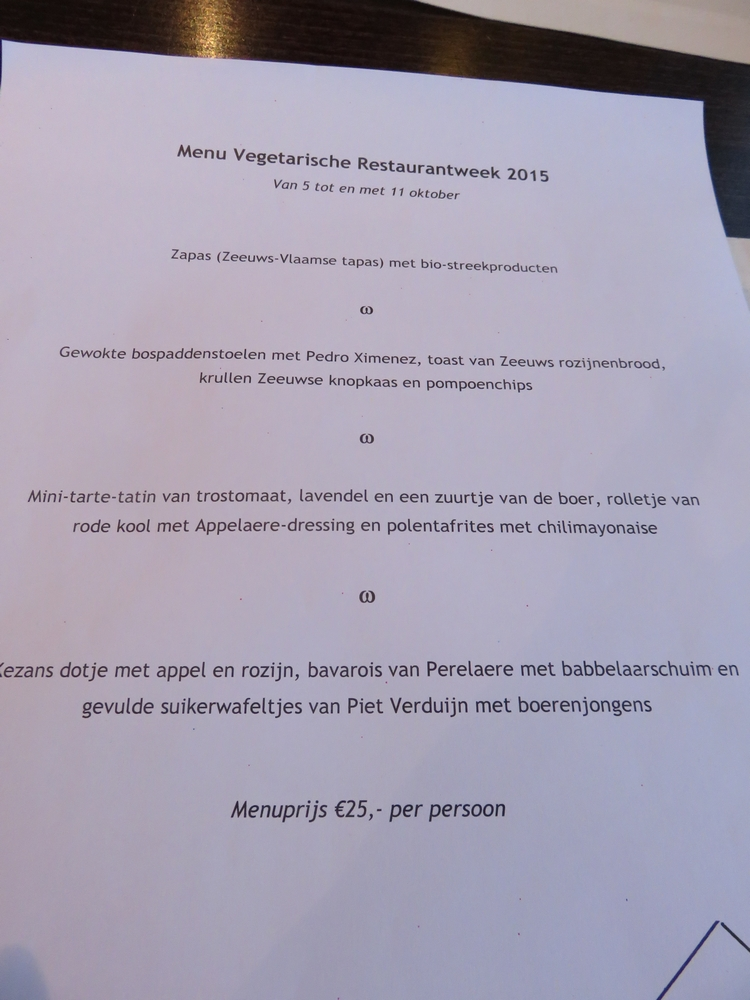Menu for the Vegetarische restaurantweek, 2015 @Het Stadhuis, Oostburg