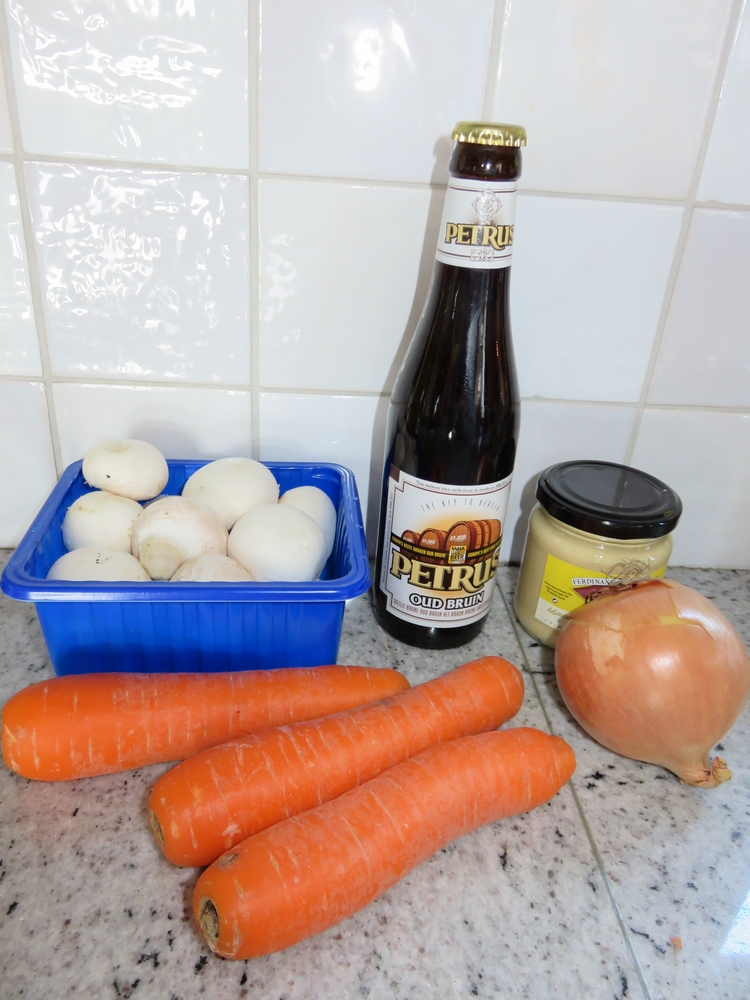 key ingredients: brown beer, mustard and onion (we like to add carrots and mushrooms)