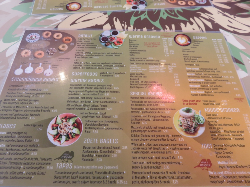 Menu at Bagels and Beans, Utrecht, Netherlands