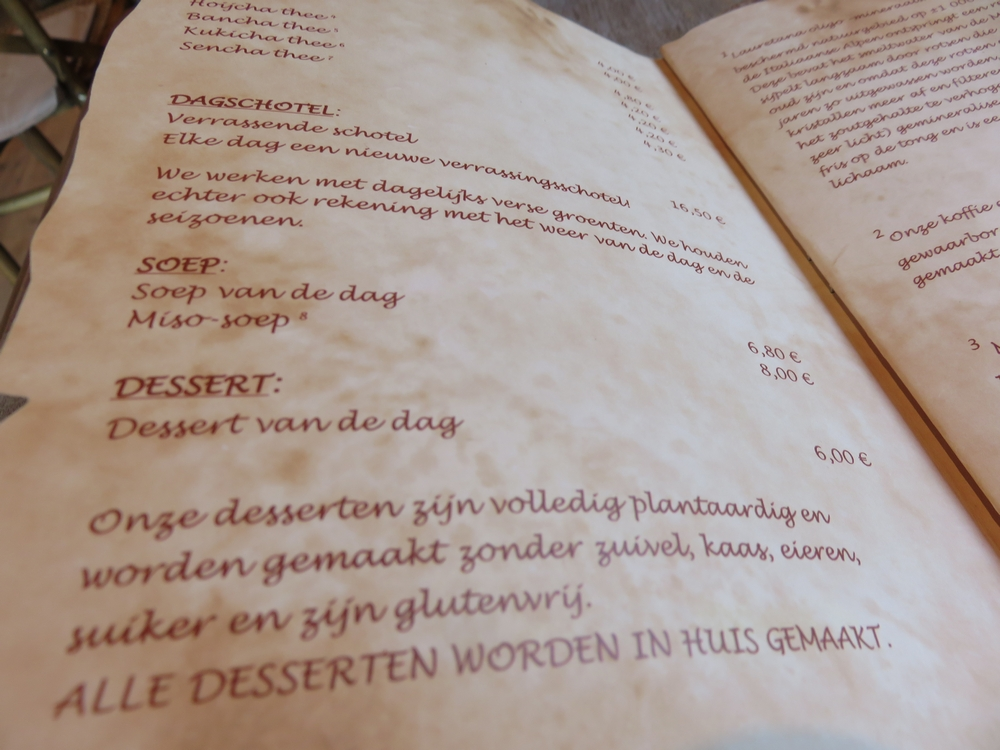 Menu at De Graankorrel, Ostend: vegan and glutenfree