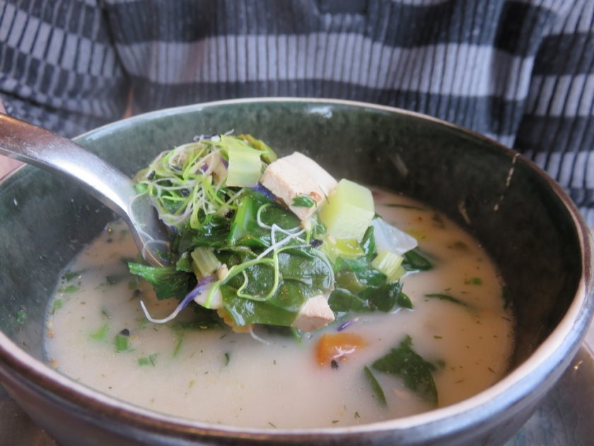 Soup of the day, plenty of vegetables and also tofu