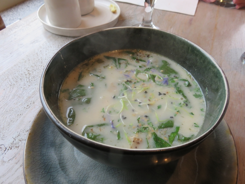 Soup of the day: spinach and coconut.