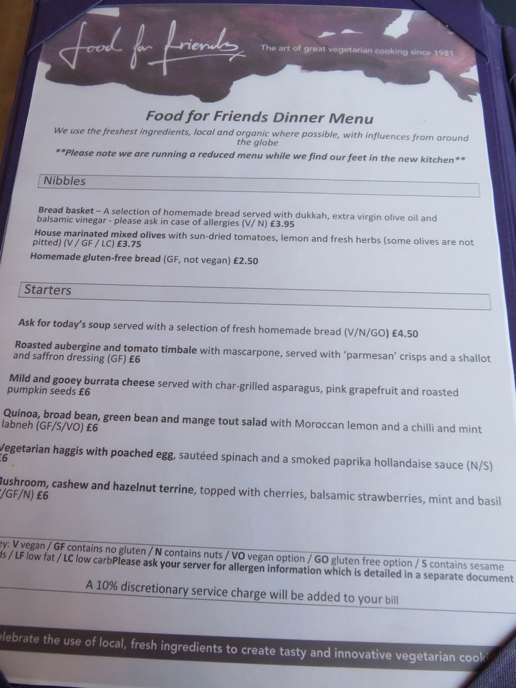 Menu, Food for Friends, Brighton UK