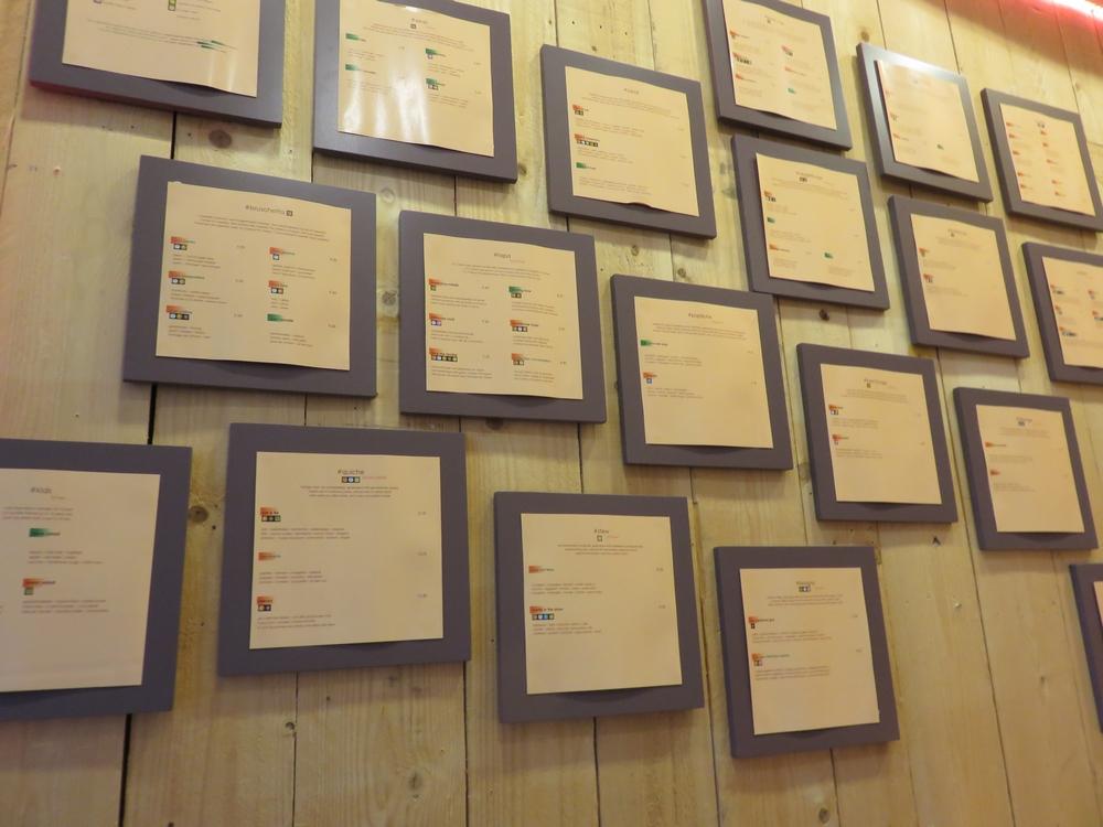 Menus on display, entrance Hashtag Food, Bruges