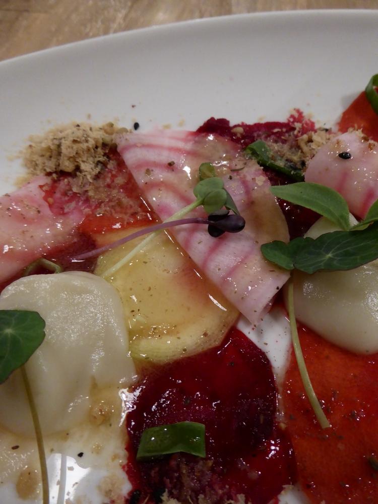 carpaccio of root vegetables, Jerusalem artichoke, vegan parmesan with argan oil,