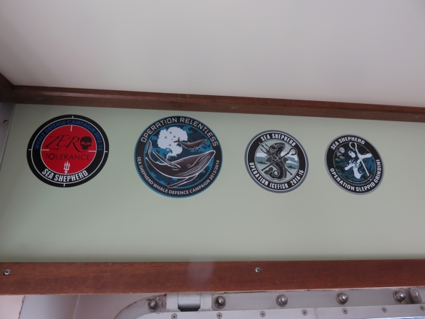 missions of the Sam Simon (stickers inside the cabine)