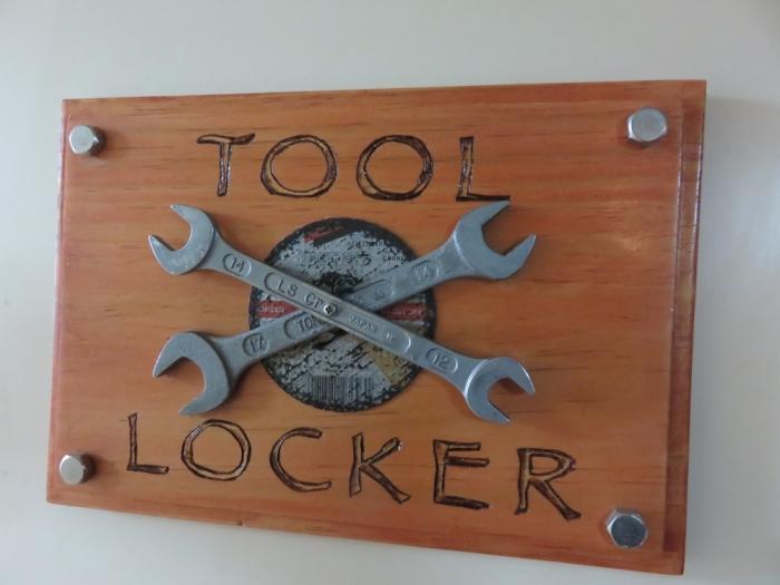Tool locker sign on door
