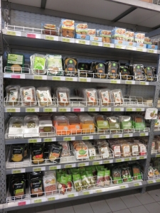 selection of vegetarian products (some are vegan), Bioplanet, Bruges